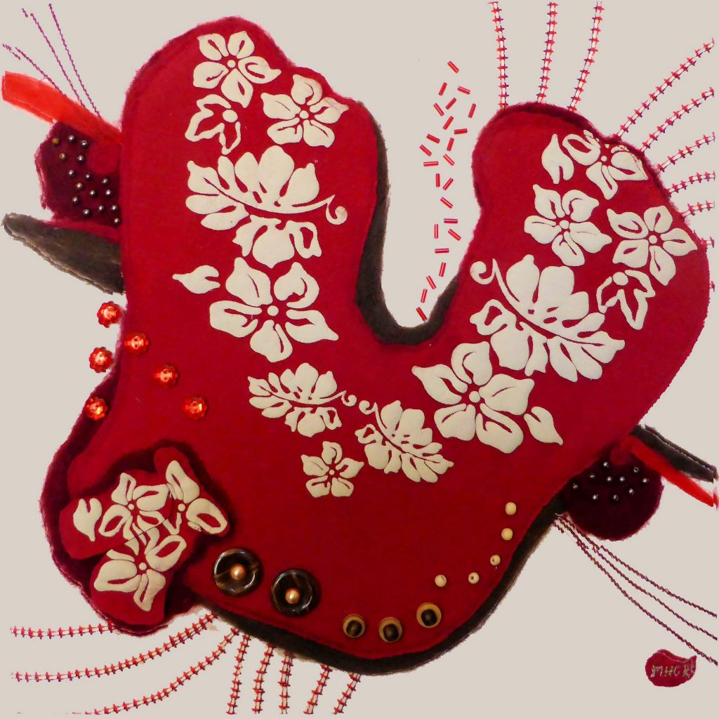 punchen en puncherij wanddeco naaldkunst hart brein